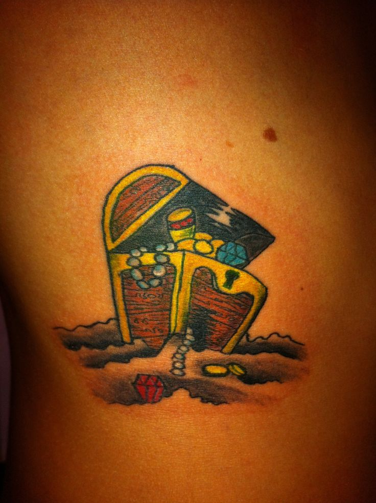 Small treasure chest tattoo