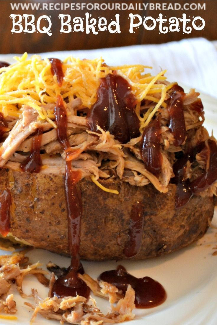 BBQ Baked Potato-a different way to have BBQ http://recipesforourdailybread.com/2012/02/19/bbq-baked-potato-crock-pot-pulled-pork/ #bbq #potatoes