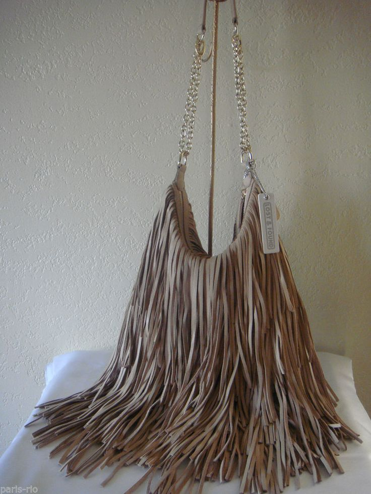 New LOST & FOUND Leather Fringe Hobo Shoulder, Crossbody Handbag ...