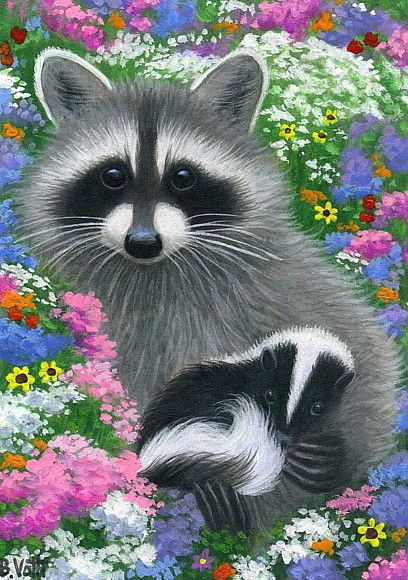Raccoon baby skunk spring flowers garden limited edition aceo print art #Realism by Bridget Voth Ebay ID star-filled-sky