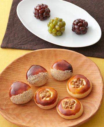 ・くるみまんじゅう ・栗まんじゅう ・鹿の子(かのこ) <小豆、うぐいす> 和菓子の会:9月のメニュー | ベターホームのお料理教室