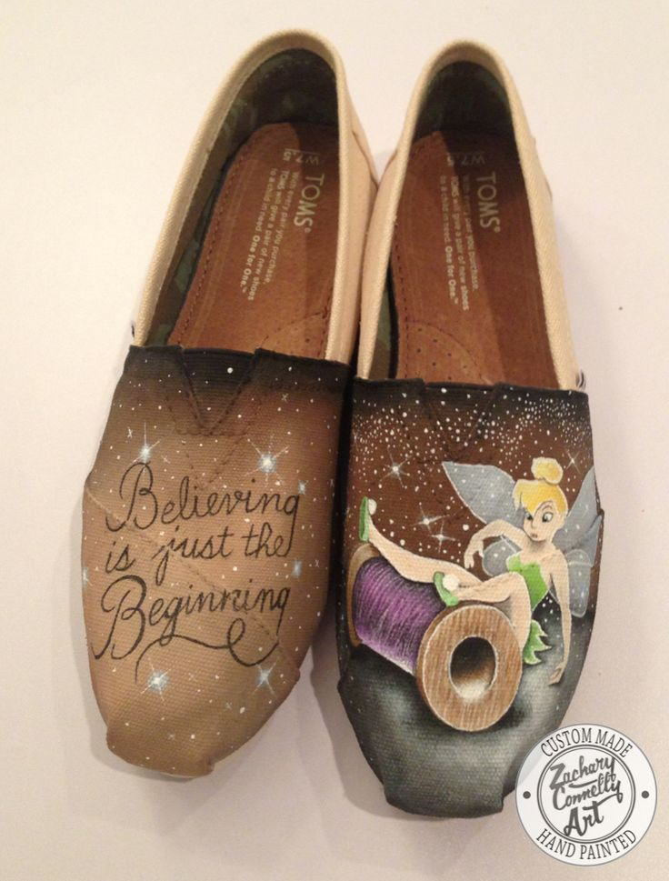 Custom designed hand painted Toms shoes inspired by Disneys Tinkerbell PLEASE READ BEFORE CONTACTING: 