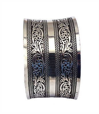 Bohemian Tibetan Tribal Vintage Carving Flowers Wide Cuff Bangles for Women