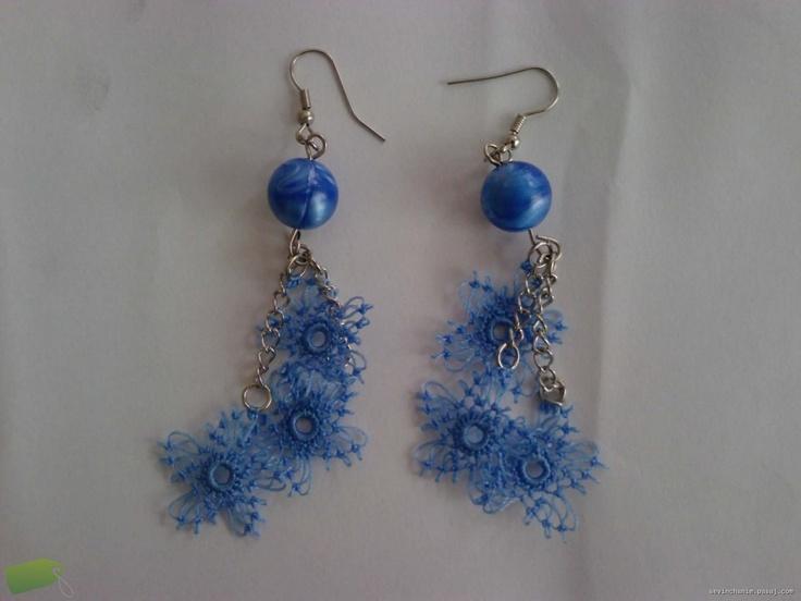 blue elegant needle lace earrings