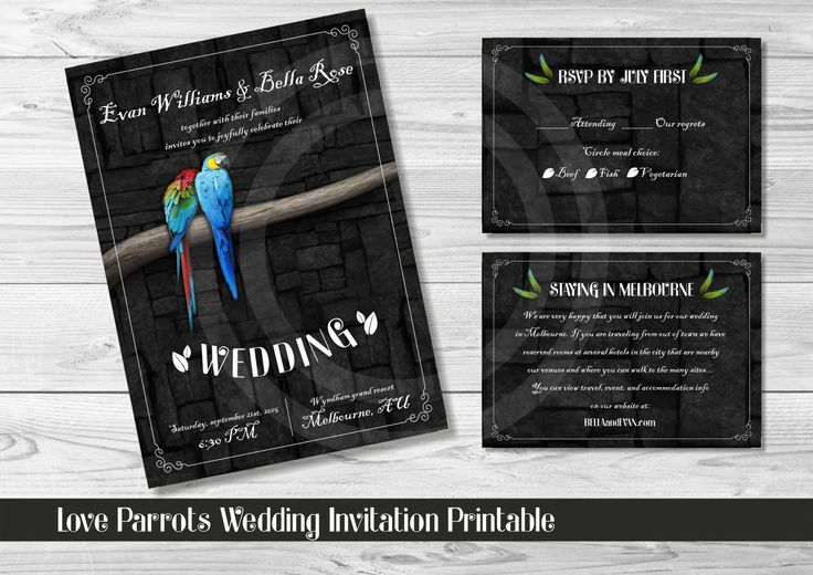 LOVE PARROTS WEDDING Invitation Printable / Custom Design Printables / Rsvp and Info Card Included by OstrichSistersDigits on Etsy