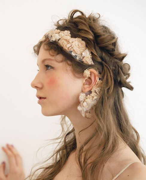 Light brown dark blonde romantic half up hair flower headpiece