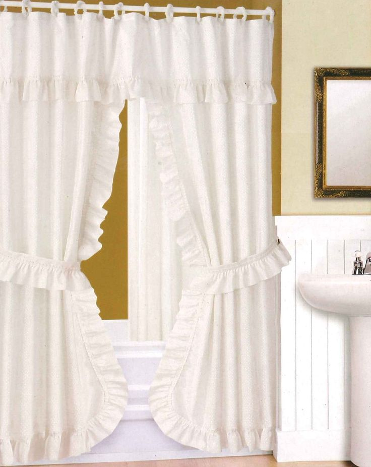Double Swag Fabric Shower Curtain Valance Liner