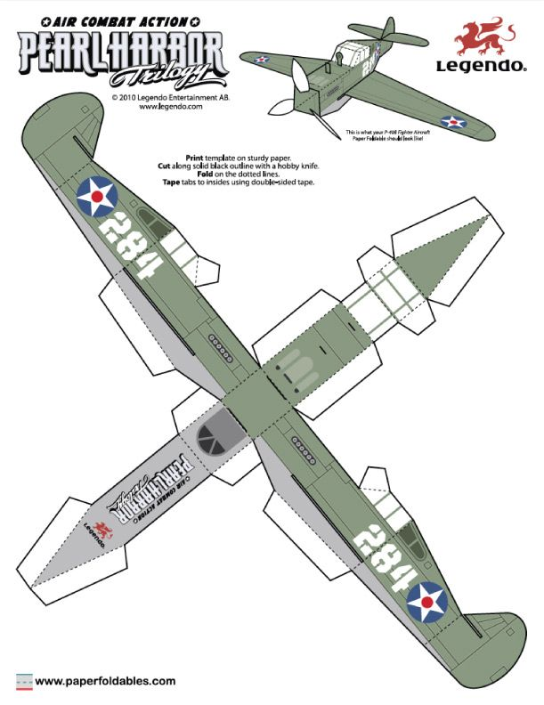 Blog Paper Toy papertoys Pearl Harbor Trilogy P40 Fighter template preview Papertoys Pearl Harbor Trilogy (x 2)
