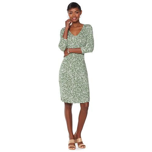 Liz Lange Flattering Fit & Flare Dress - Olive Mini Leaves
