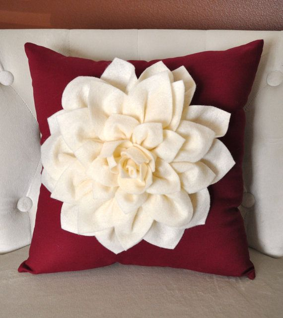 Dahlia Felt Flower Holidays Decorative Pillow  Ivory by bedbuggs, $35.00
