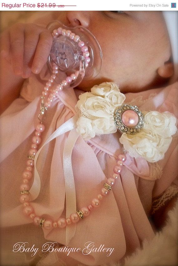"""20% Off SPRING SALES EVENT Baby Boutique 2"""" Ivory Chiffon Flower with Pink Pearl 4-in-1 Beaded Pacifier Holder"""
