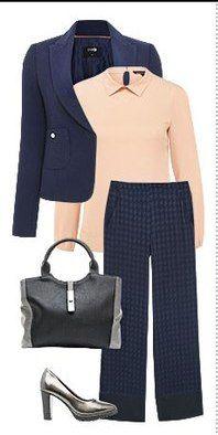 Синие брюки, розовая блузка, пиджак манго, черная сумка, черные туфли