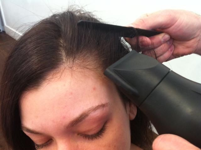 Gregory Patterson of blowpro demos HOW TO control the baby strands along hairline.