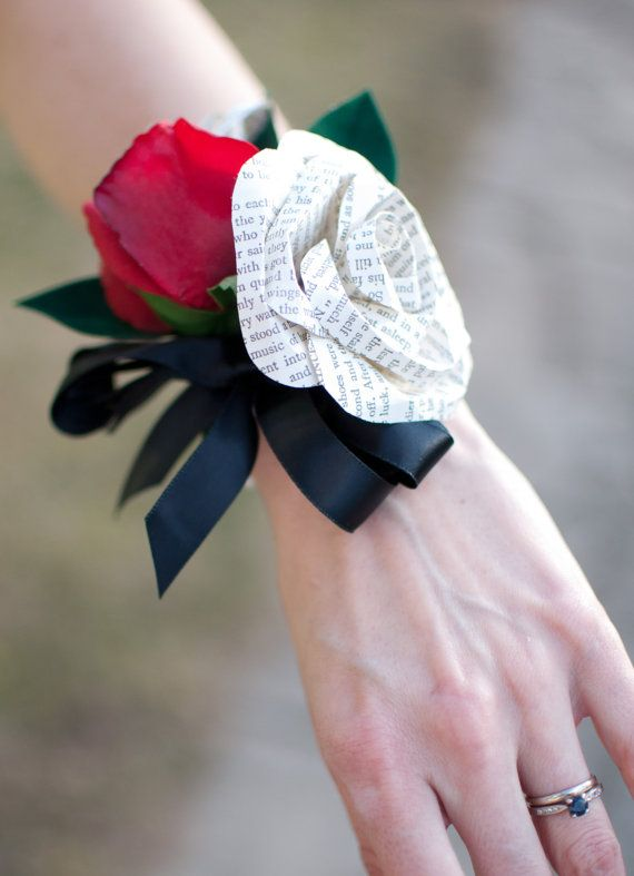 Book Page or Sheet Music and Silk Rose Pearl Bracelet Corsage Prom @sewilliams89 - the silk rose will be a different color.