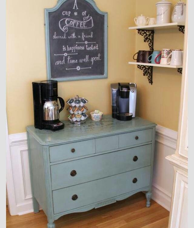 Turn An Old Dresser Into A Coffee Bar Repurposed