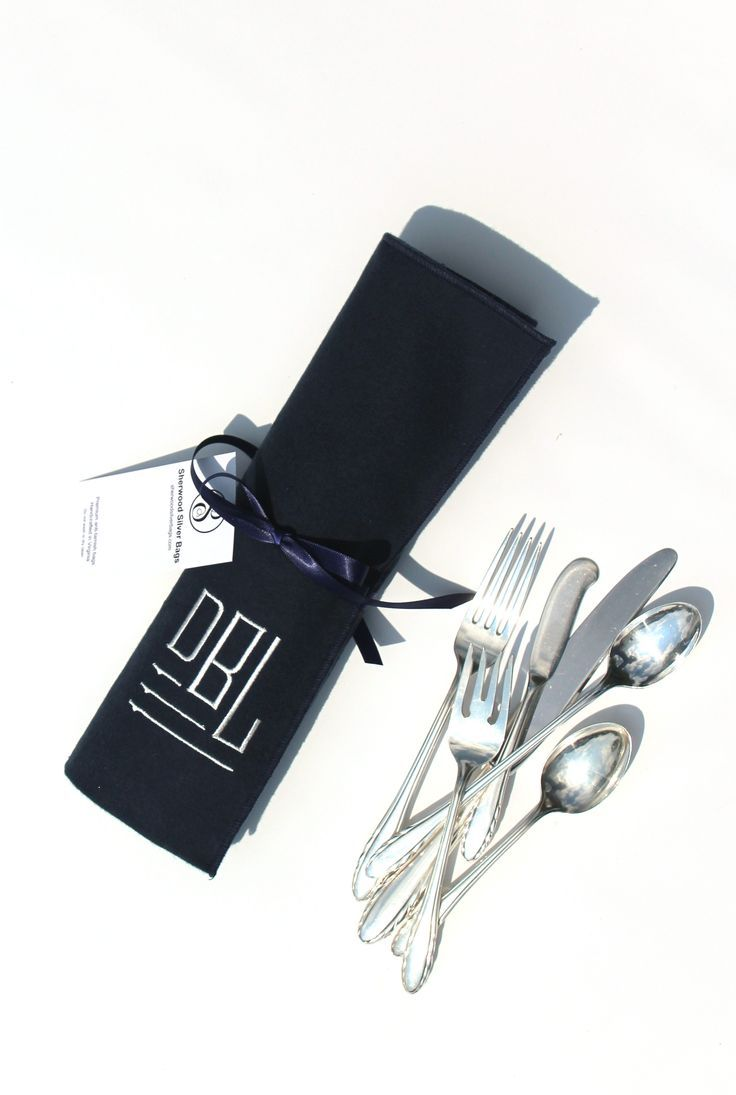 Gorham Lyric sterling silver flatware, stored in an Anti Tarnish Flatware Roll for Sterling Silver Flatware Storage, Monogrammed Storage Bags, Silverware Roll, Modern Classic Collection 8