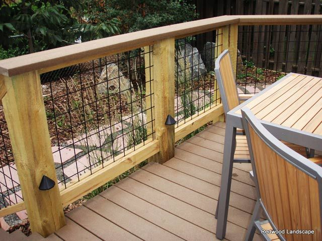 Wire mesh deck rail. With 2x2 wire mesh, thinking dog fencing for the yard rather than on the deck.