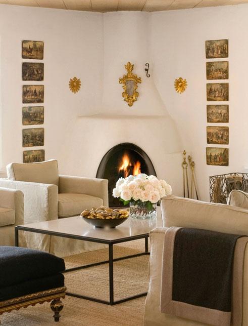 Living Rooms. interior design: Peter Vitale: Coffee Tables, Living Rooms, Design Peter, Interiors Design, Corner Fireplaces, Design Hotel, Inspiration Interiors, Adobe Fireplaces, Interiors Decor