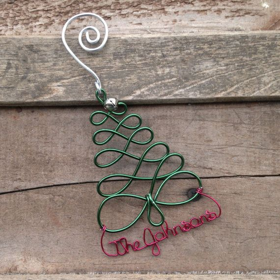 Personalized Holiday Christmas Tree Ornament - Handcrafted Wire Tree with Name or Date - Unique Custom Christmas Gift, Holiday Decor