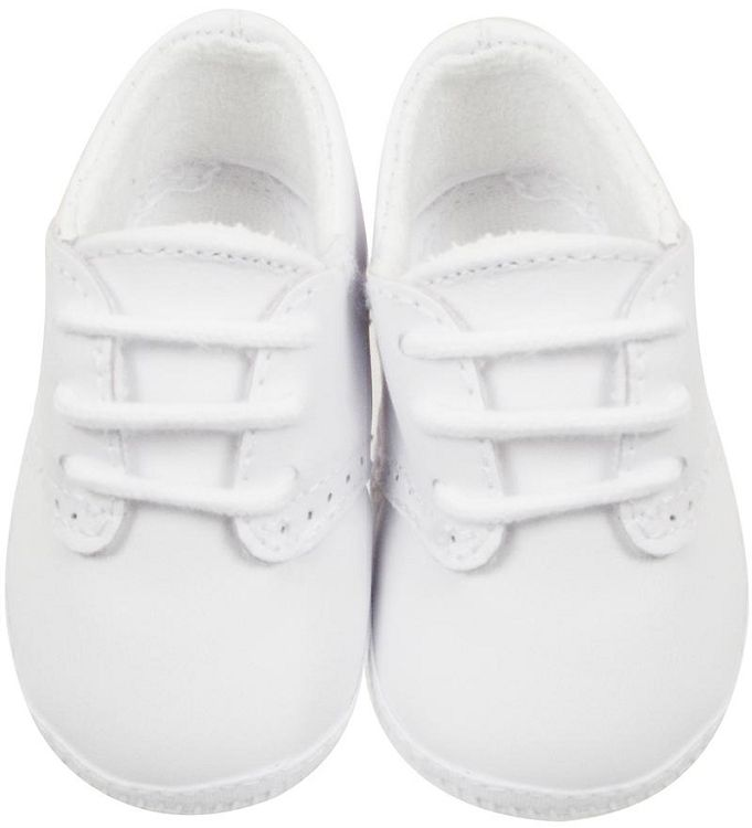 White Leather Saddle Oxford Shoes for Baby Boy in Crib