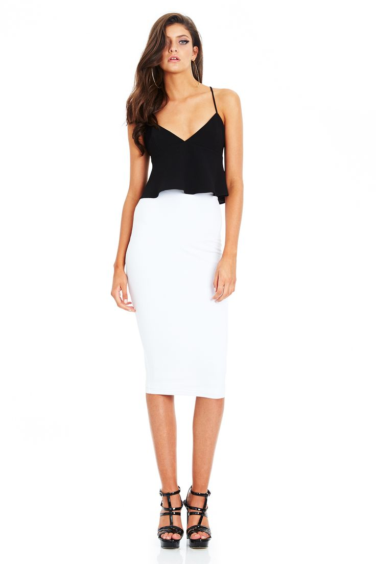 NEW MOON FRILL CAMISOLE Black & DOLCE VITA PENCIL SKIRT White #nookie #shesgotthelook #lovenookie
