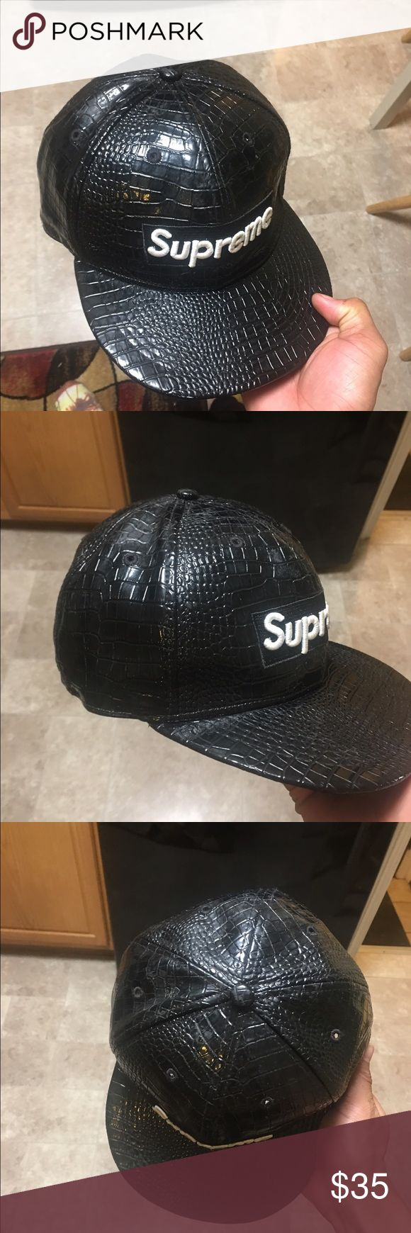 Supreme Hat Black and white leather supreme hat Supreme Other