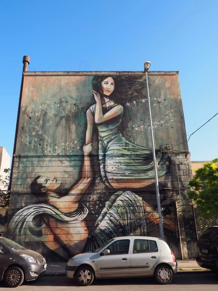 """Alice Pasquini, """"Arethusa and Alpheus"""", Sicile Syracuse, Italy I love how this story is still relevant as seen in this modern day graffiti art showcased in Sicily"""