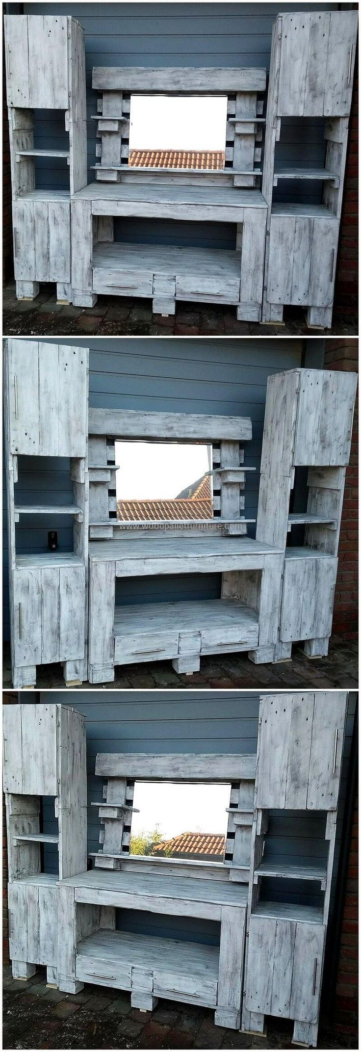 Now give you lounge or living room an amazing look with the custom designing pallet project of the rustic pallet Wash Basin. This pallet plan seems much attractive looking with the fabulous woodwork and with the stylish construction of pallet cabinets, shelves, and drawers in it.