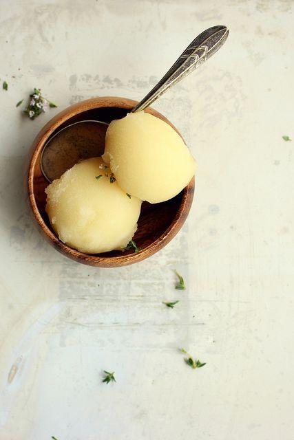 {What a simple, lovely sorbet.} Lemon, Honey, & Thyme Sorbet | My Darling Lemon Thyme
