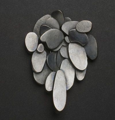 Brooch   Anna Wallis. 'Drip'.  Oxidised sterling silver