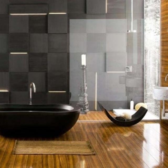 bathroom beautiful cozy modern bathroom designs black grey stone wall feat soft orange laminte and floor also black bathtub brilliant ways to make a