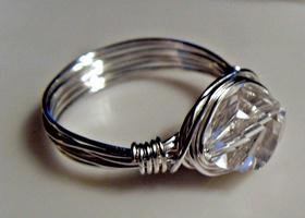 Swarovski Crystal Silver Wire Ring