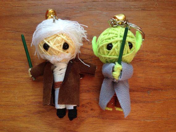 Star Wars main Poupées de String Voodoo Doll Keychain Maître Jedi Paire de Obiwan Kenobe et Yoda
