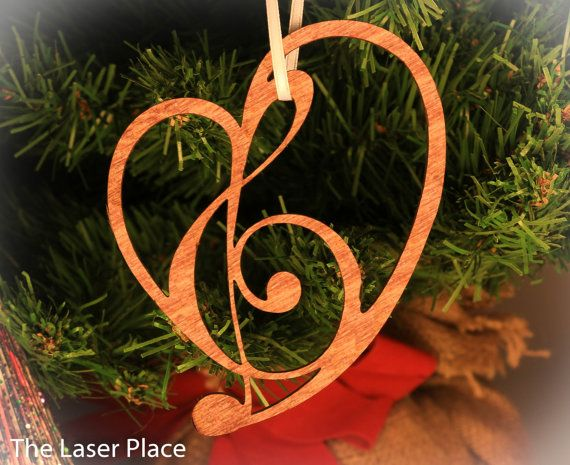 Heart Ornament made from Music Symbols; laser cut ornament