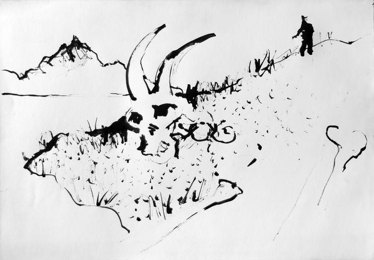 Sithonian Landscape, ink on paper