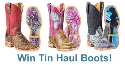 Win your choice of Tin Haul Boots in March. (up to $325 in value) Cowboy Shop Online has great giveaways!