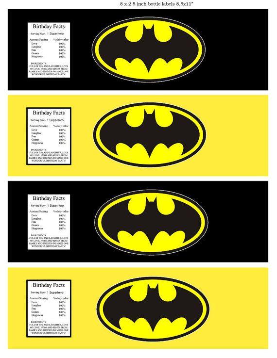 Etichetta bottiglia d'acqua di Batman Superhero  partito di