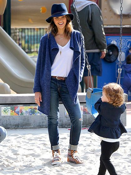 Jessica Alba looks relaxed and chic taking her daughter Haven to a Beverly Hills playground on Feb. 9