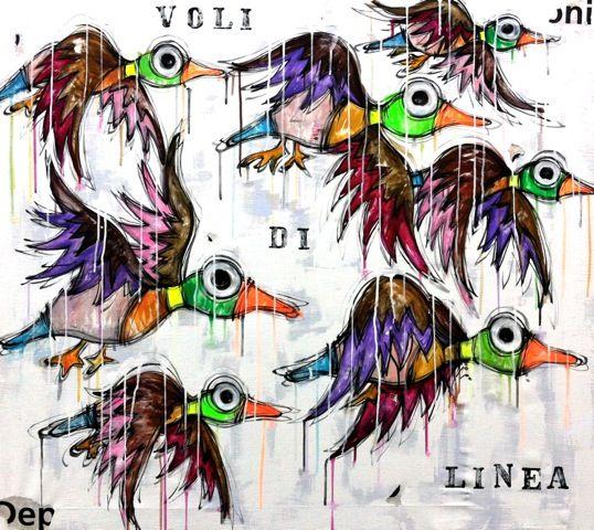 Voli Di Linea http://www.pisacanearte.it/index.php/artisti/y/yux/yux-voli-di-linea-acrilico-e-smalto-su-tela-110x110-cm.html