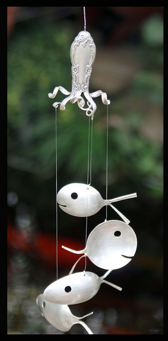 Octopus Art Recycled Wind Chime Spoon Fish and by NevaStarr
