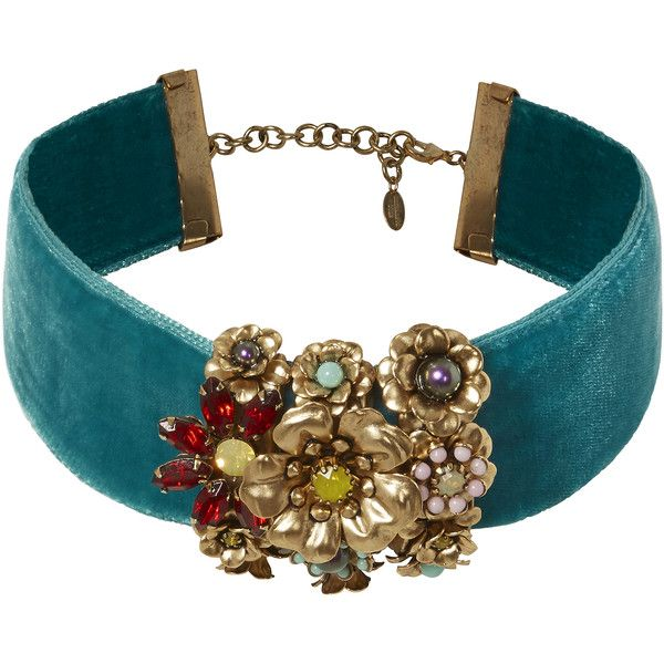 Halia Floral Velvet Choker (1.170 NOK) ❤ liked on Polyvore featuring jewelry, necklaces, multi, multi color necklace, ribbon choker, blue choker necklace, velvet choker necklace and adjustable necklace