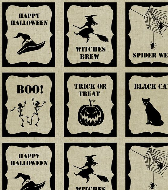 Holiday Inspirations Halloween Fabric - Burlap Halloween Bags