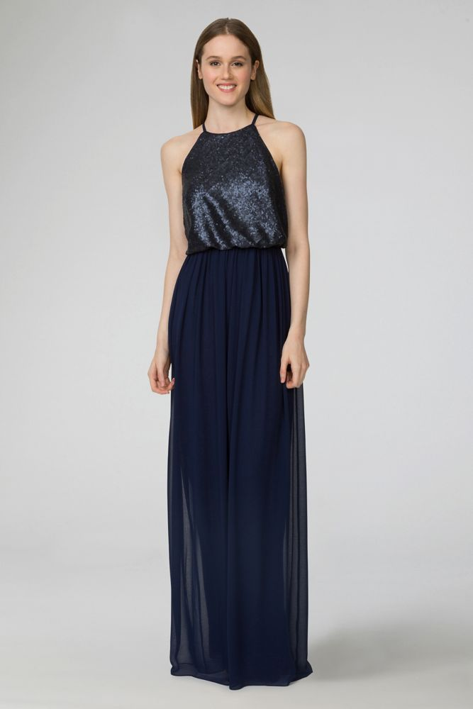 Hannah sequin and chiffon bridesmaid dress midnight for Midnight blue wedding dress