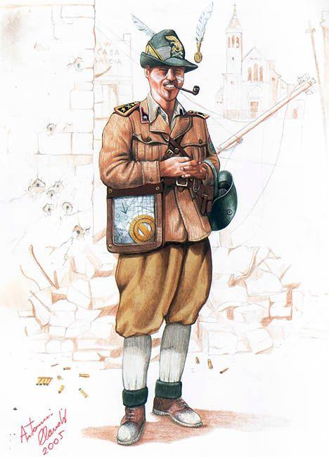 Major (Maggiore) Caccia Dominioni, Commander of the XXXI Assault Engineer Battalion, bombed city of Tobruk, 1942