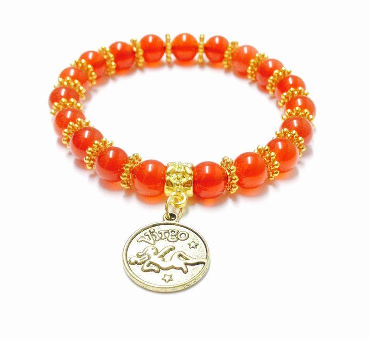 Virgo Bracelet - Virgo Birthstone Bracelet - Virgo Charm Bracelet - Carnelian Bracelet - Carnelian Virgo Bracelet - Gemstone Bracelet -Virgo by OurUniverseShop on Etsy