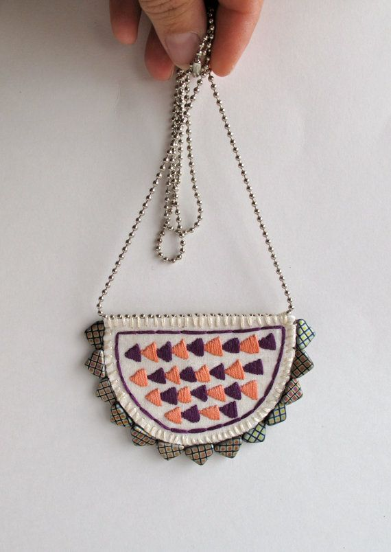 Arrow crescent long necklace embroidered by #AnAstridEndeavor
