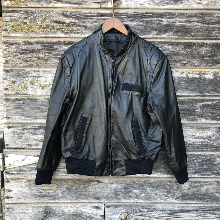 Black leather Members Only style jacket 80s new wave 1980s