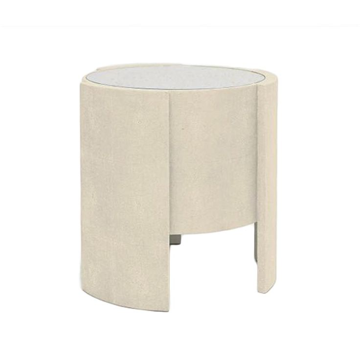 Faux Shagreen Side Table With Glass Top