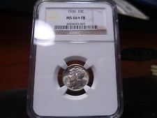1930 MS66+FB (Plus with Full Separated Bands) Mercury Dime NGC Certified Gem !