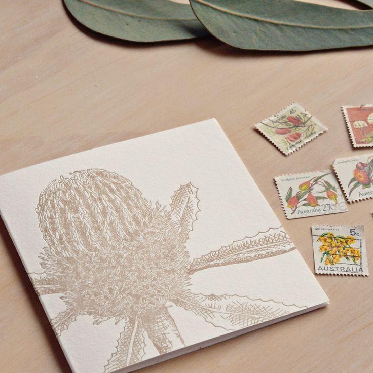 Fluid Ink Fine Letterpress of Australia - Botanical native banksia –  10x10cm card with Kraft envelope 6.506.5